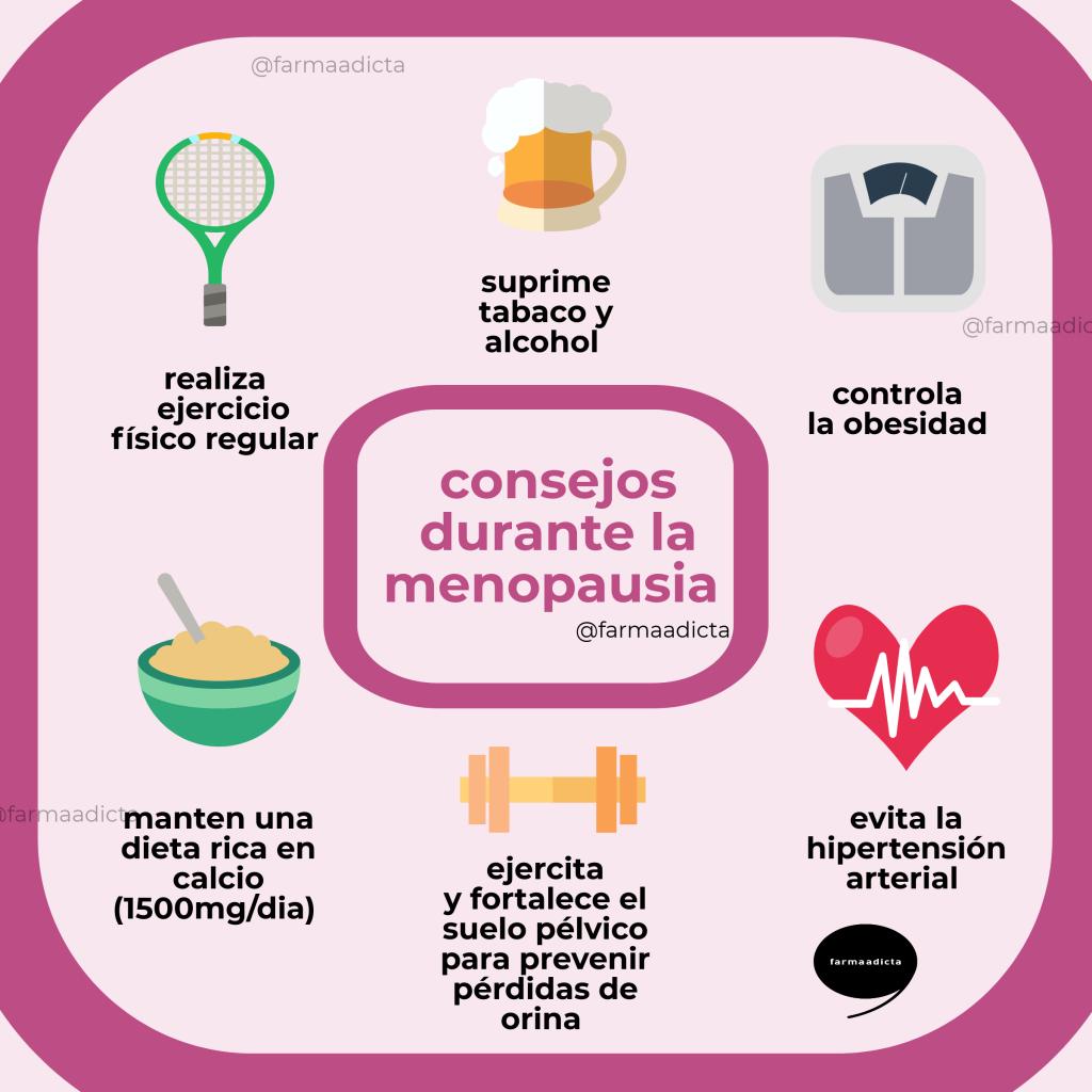 consejos durante la menopausia – infografía – farmaadicta